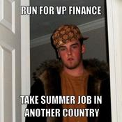 Run for vp finance take summer job in another country 0aec7f